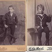 SALE Pair of Carte-De-Visite Photographs, Young Boys in Sailor Suits