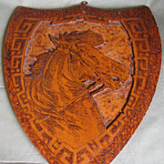 REDUCED Large Shield Shaped Flemish Art Plaque, Horse, Pyrography