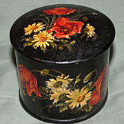 Lovely Round Papier Mache Powder Box, Red Poppies & White Daisies