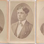 SALE Group of 3 Victorian Photograph Carte De Visite Cards, Young Men