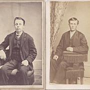 SALE Pair of Victorian Photograph Carte de Visite Cards, Young Men