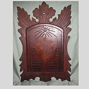 Large Antique Dark Wood Letter or Magazine Wall Rack