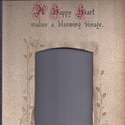 "SALE Page From Victorian Photo Album, Proverb, ""A Happy Heart"""