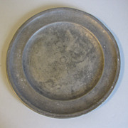 """Vintage French Pewter Plate, 8 3/4"""" Diameter"""