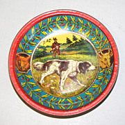 REDUCED Small Round Tip Tray, Hunting Dog w/Hunter, Fox, Deer