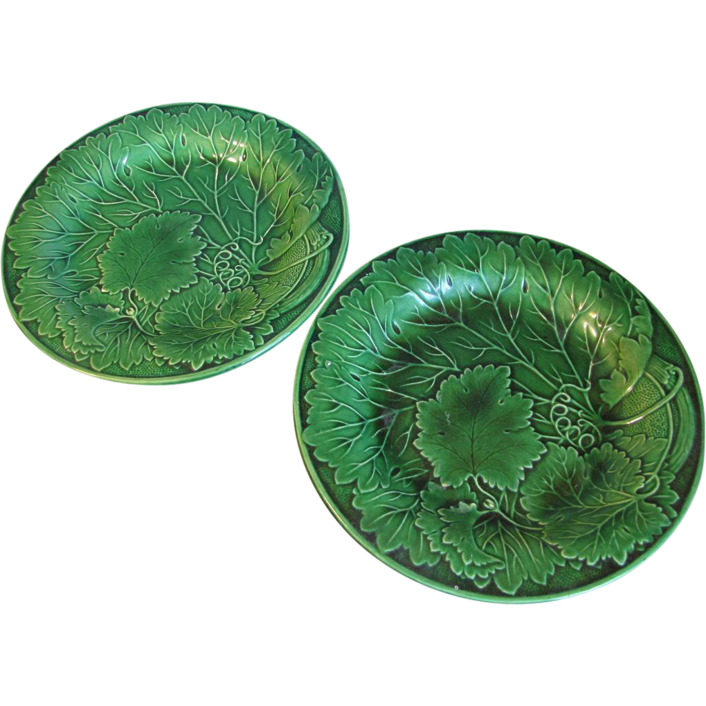 Pair of Antique Green Majolica Plates, Leaves
