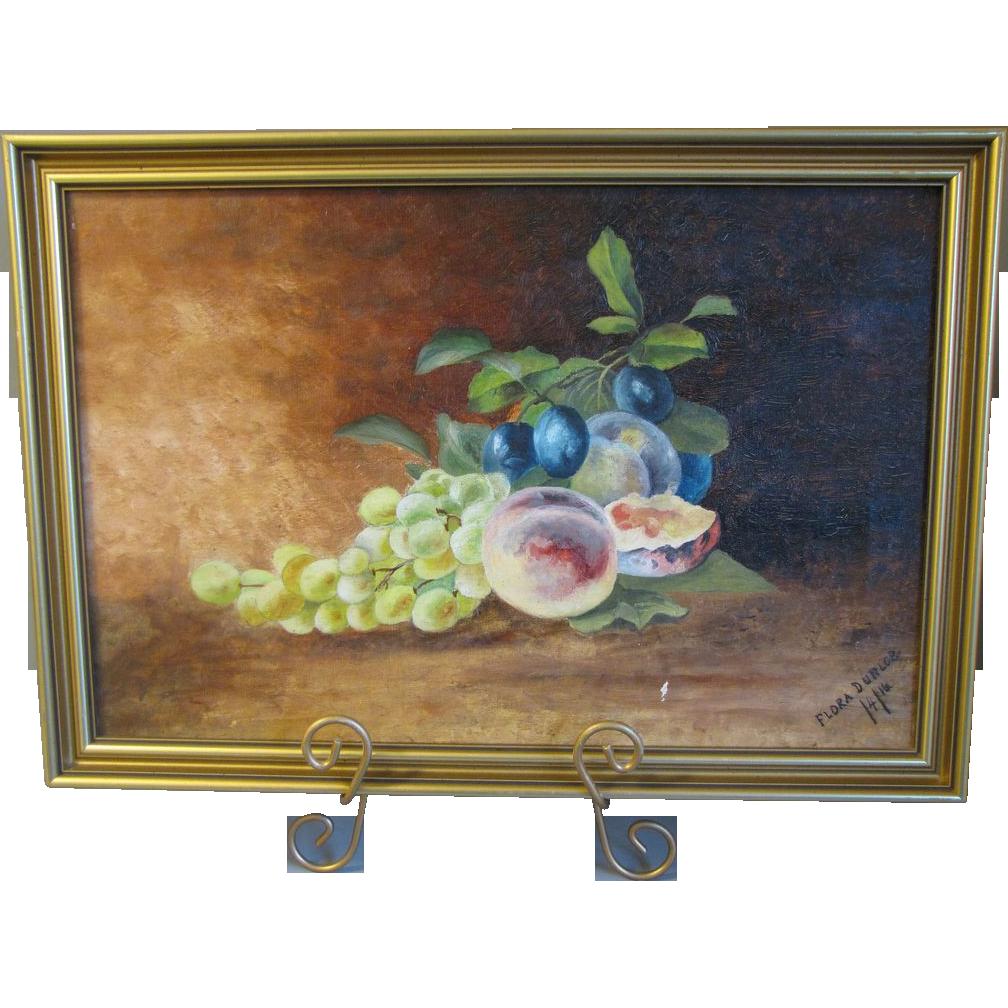 1914 Still Life Oil Painting, Framed, Flora Dunlop