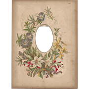 SALE Lovely Floral Page From Victorian Photograph Album, CDV