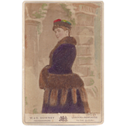 SOLD Unusual Cabinet Photograph, Lady in Fur, Tinted