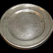 Most Unusual Pewter Plate, Landscape, Oriental Mark