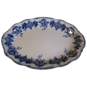 Small Oval Flow Blue Platter, CLARENCE, Grindley, c. 1900
