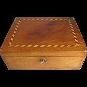 REDUCED Lovely Antique Mahogany Box, Wood Inlay