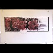 Lovely Silkscreen Print by Charles E. McGough, Peony Tapestry