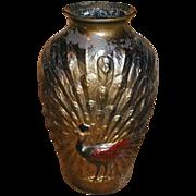 SOLD Large Peacock Goofus Glass Vase, Original Paint