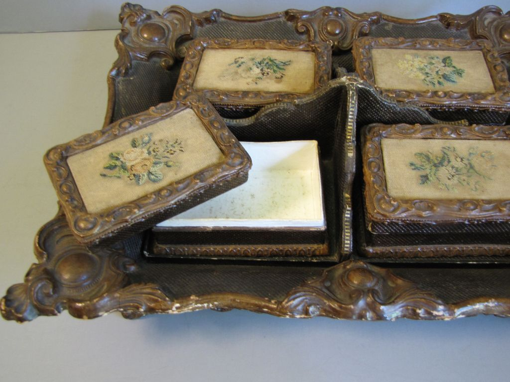 antique papier mache card and game poker chip tray from tomjudy on ruby lane. Black Bedroom Furniture Sets. Home Design Ideas