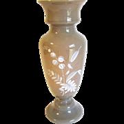 Lovely Bristol Glass Vase, Clam Broth, White Enamel