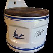 Lovely Vintage Round Blue Bird Salt Box (Canister)