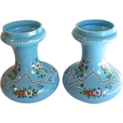 Gorgeous Pair of Blue Opaline Glass Hyacinth Vases