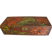 Lovely Flemish Art Pyrography Glove Box, Painted Poinsettias