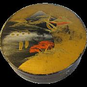 Vintage Round Oriental Papier Mache Powder Box
