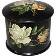 Lovely Victorian Papier Mache Powder Box, Roses