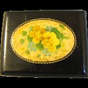 Tiny Black Lacquer Victorian Box, Floral Design