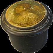 Small Round Wood Powder Box with Angel