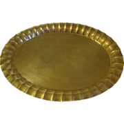 Vintage Oval Brass Tray, Fluted Edge