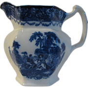 Outstanding Antique Flow Blue Milk Pitcher, WATTEAU, N.W.P.