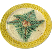 Antique Majolica Plate, Ferns, Basketweave, & Flowers