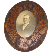Vintage Wood-Burned Oval Photograph Frame Grapes and Leaves