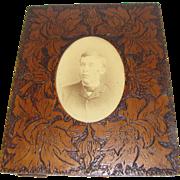 Vintage Rectangular Wood-Burned Photograph Frame, Floral