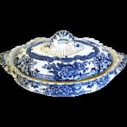 Flow Blue Vegetable Bowl w/ Lid MARLBOROUGH Keeling