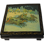 Vintage TROIKA Black Lacquer Russian Box, Signed