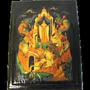 Vintage Black Lacquer Box, Fairy Tail Scene