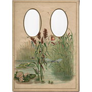 SOLD Colorful Page from Victorian Photograph Album, Water Lilies