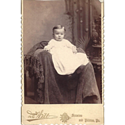 SOLD Cabinet Photograph of Child in Christening Gown, Victorian Background