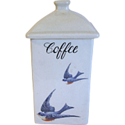Hull Pottery Vintage BLUEBIRD Coffee Canister