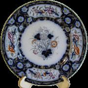 Lovely Antique Flow Blue Floral Plate, BIRMAH