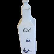 1920's Ceramic Oil Cruet Bottle w/Lid BLUEBIRD, Hull