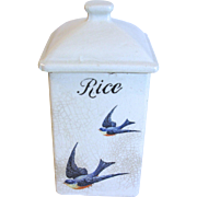 """1920""""s Square Pottery Canister, BLUEBIRD Design, Hull Pottery"""