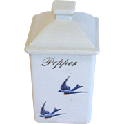 Vintage Square Ceramic PEPPER Spice Canister, Bluebird, Hull