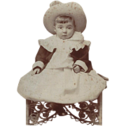 SALE Cabinet Photograph of Young Child, Victorian Dress, Wicker Chair