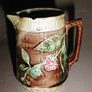 Lovely Antique Majolica Pitcher Basketweave & Flowers