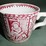 Red Aesthetic Transferware Tea Cup, Mae with Pets, Allerton