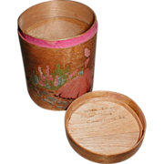 Lovely Little Round Wooden Trinket Box w/ Lady and Flowers