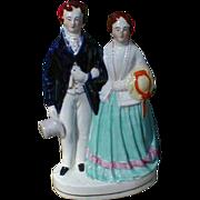 19th C. Victorian Flatback Staffordshire Group Figure, Unidentified