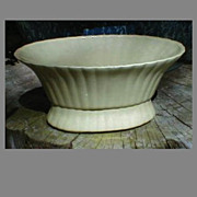 Pale Yellow Pottery Console Planter, Unmarked