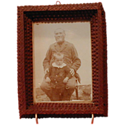 Small Painted German Tramp Art Frame w/ Photograph