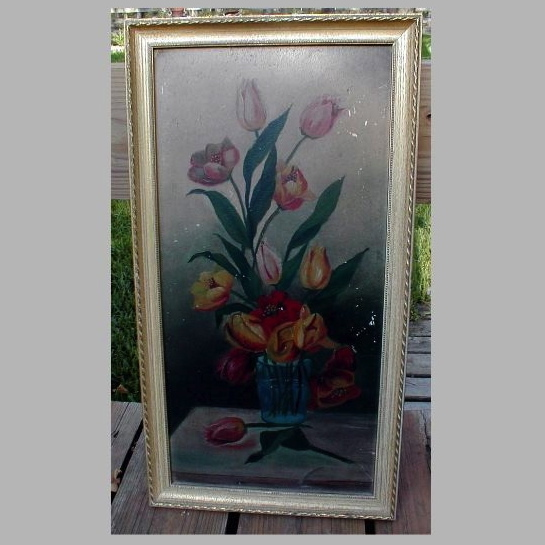 Lovely Oil Painting of Tulips in a Glass, Framed